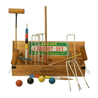 Vintage Jaques Croquet Set with Boxwood Mallets