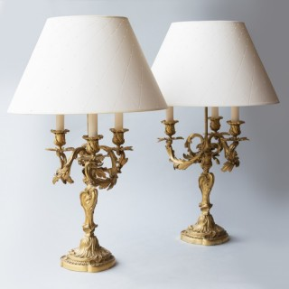 PAIR OF LOUIS XV STYLE ROCOCO CANDELABRA CONVERTED TO LAMPS