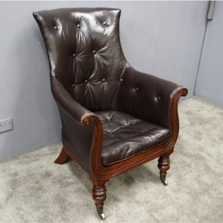 Regency Mahogany Lyre Shaped Armchair