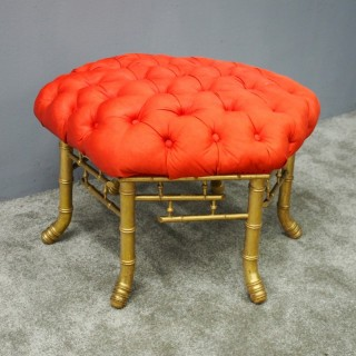 French Red Silk Deep Button Stool