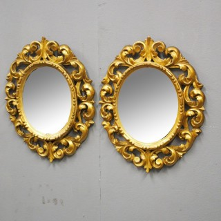Pair of Victorian Carved Giltwood Mirrors