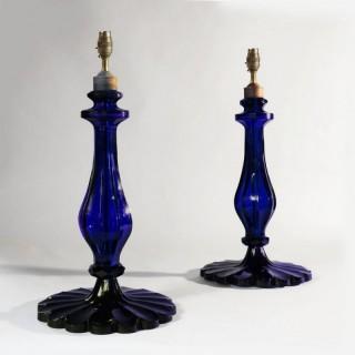 DARK BLUE GLASS PAIR OF TAJ TABLE LAMPS