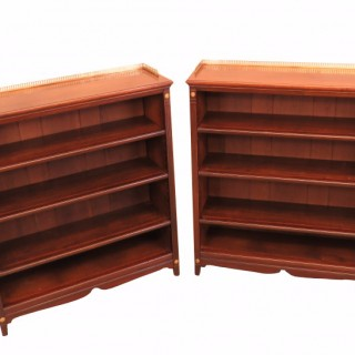 Mahogany Pair Of English 19th Century Dwarf Open Bookcases