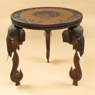 Anglo Indian Fine Carved Hardwood Round Side Elephant Table. 19th Century
