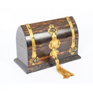 Antique Coromandel & Brass Mounted Scent Bottle Box 19th C