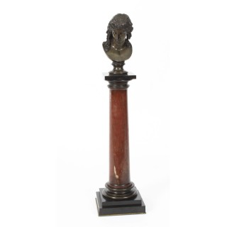 Antique French Grand Tour Bust of Ariadne on Marble Column 19th C