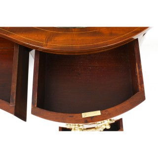 Antique Victorian Mahogany Marquetry Kidney Shaped Desk 19th Century