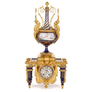 Louis XVI style gilt bronze mounted porcelain clock by Sévin and Barbedienne