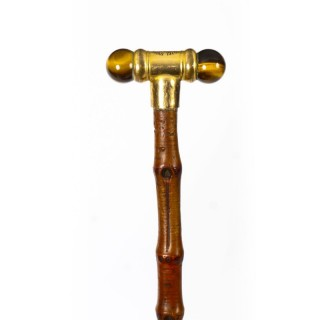 Antique George V Tiger's Eye Swagger Stick Cane Circa 1916