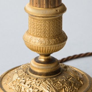 PAIR OF GILT BRONZE EMPIRE CANDLESTICKS CONVERTED TO LAMPS