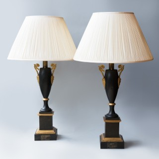 PAIR OF 19th CENTURY TOLE AND GILT BRONZE HYDROSTATIC LAMPS