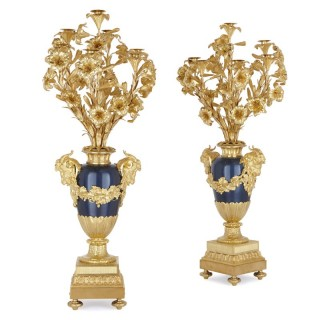 Pair of large Neoclassical style gilt bronze and painted metal candelabra