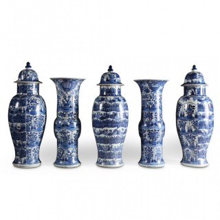 GARNITURE OF 5 CHINESE KANGXI PORCELAIN BLUE AND WHITE SHIPWRECK VASES