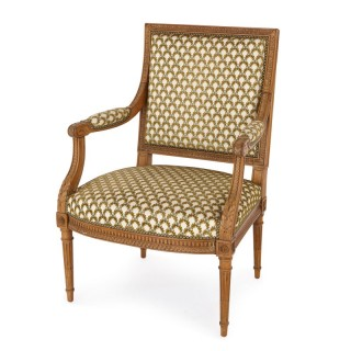 Antique silk-upholstered beech wood armchair by Linke