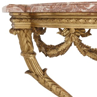 Antique carved giltwood and pink marble console table by Linke