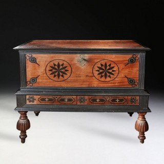 RARE 18TH CENTURY INLAID SATINWOOD AND EBONY COFFER ON STAND