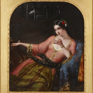 Orientalist harem painting in giltwood frame by O'Neil