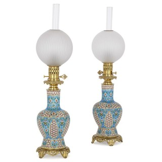 Two Bordeaux faience and gilt bronze oil lamps, attributed to Vieillard & Cie