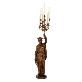 Large bronze Japanese figural lamp by Guillemin and Barbedienne