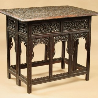 A fine 19th century carved anglo Indian hardwood folding table circa 1880