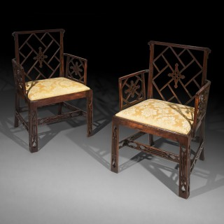 Pair of George III Chinoiserie Armchairs, to a design by Mayhew & Ince