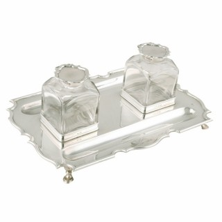 George V Sterling Silver Inkwell Standish