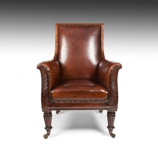 Fine Late Regency Mahogany Armchair of Neo-Classical Design With Leather Upholstery