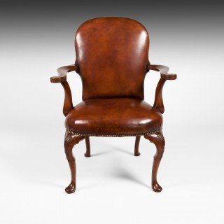 Antique Leather Upholstered Walnut Armchair On Cabriole Legs