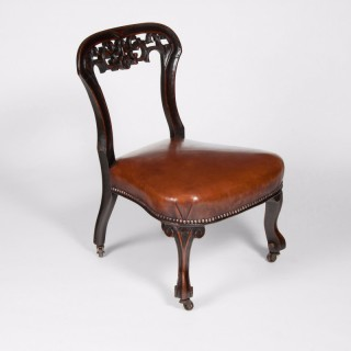 Rare Victorian Mahogany Leather Upholstered Childs Chair