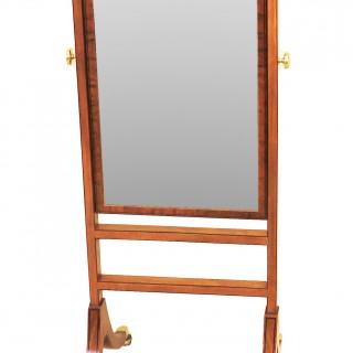 English Georgian Small Mahogany Cheval Dressing Mirror
