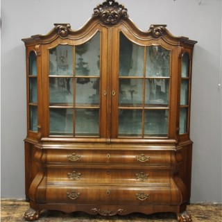 Dutch Victorian Walnut Display Cabinet