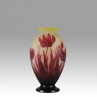 Art Nouveau French Cameo Glass 'Tulip Vase' by Emile Gallé