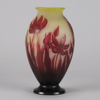 Art Nouveau French Cameo Glass 'Tulip Vase' by Emile Gallé