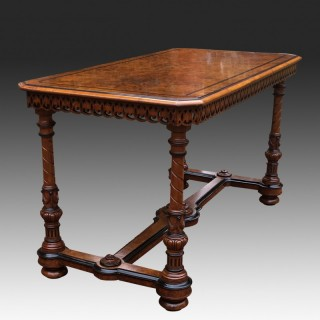 Antique Burr and Carved Walnut Library Table or Centre Table