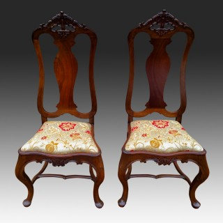 Antique Pair of Portuguese High Back Hall Chairs