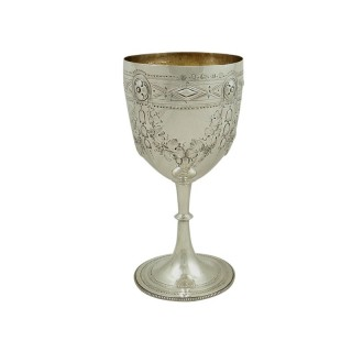Antique Victorian Sterling Silver Wine Goblet 1873