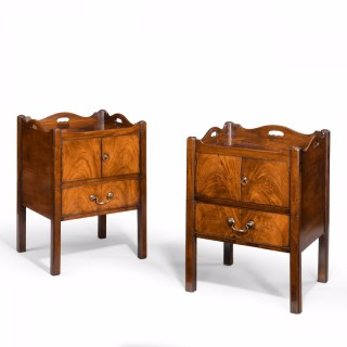 A matched pair of George III mahogany bedside commodes