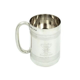 Antique Victorian Sterling Silver Tankard / Mug 1898 - Disley Golf Club