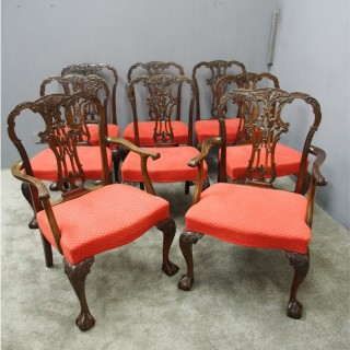 Set of 8 Chippendale Style Dining Chairs