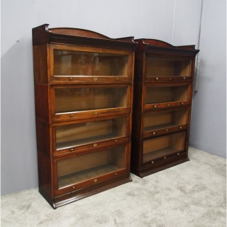 Pair of Stained Beech Sectional Bookcases