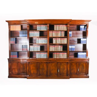 Antique George IV Regency Flame Mahogany Breakfront Bookcase c1820