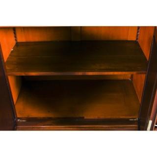 Antique George IV Regency Flame Mahogany Breakfront Bookcase c1820