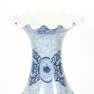 Antique Pair Japanese Meiiji Imari Blue & White Arita Porcelain Temple Vases 19C