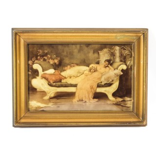 Antique Victorian Crystoleum of a Mother & Daughter Picture Painting 19th C