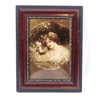 Antique Victorian Crystoleum Picture Painting Of a Girl & Pug 19th C