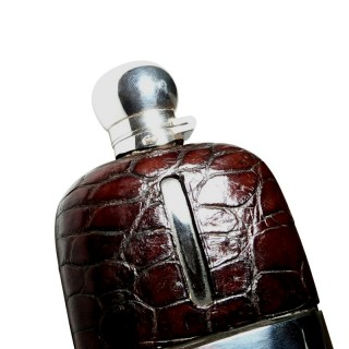 Antique Crocodile Leather & Silver Plated Hip Flask c1900