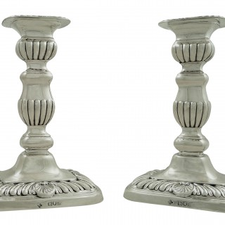 Pair of Antique Victorian Sterling Silver Candlesticks 1896