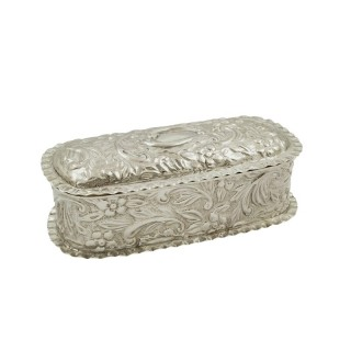 Antique Victorian Sterling Silver Trinket Box 1895