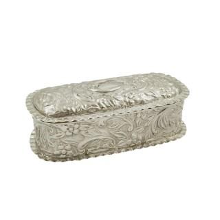 Antique Victorian Sterling Silver Trinket Box 1895