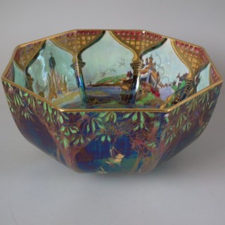 Wedgwood Fairyland Lustre Octagonal Bowl -'Fiddler in Tree'